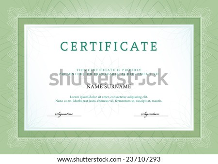 Vector illustration of green detailed certificate - stock vector