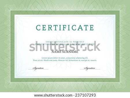 Vector illustration of green detailed certificate - stock vector