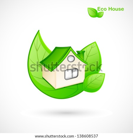 vector illustration of green house concept with leaf - stock vector