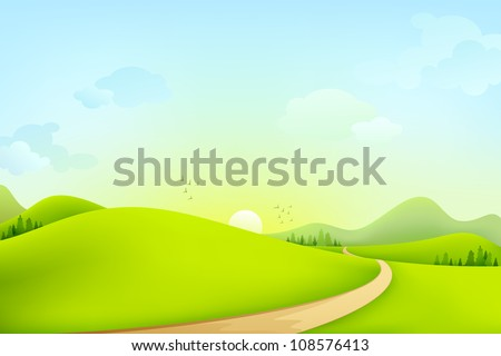 vector illustration of green landscape of sunny morning - stock vector