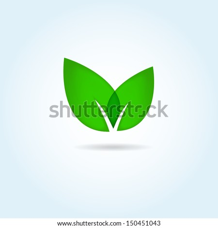 Vector illustration of green leaves. Eco concept - stock vector
