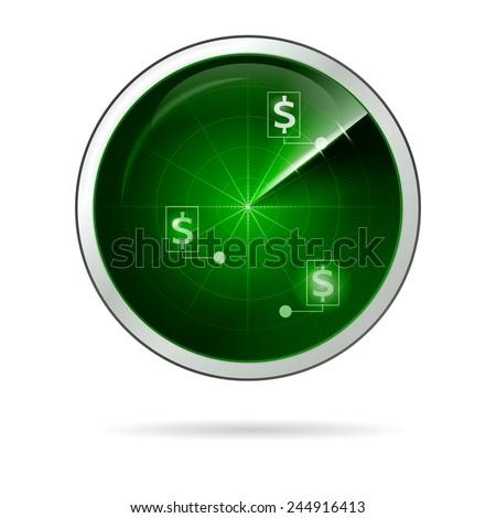 Vector illustration of green locating radar for business. Radar green screen with dollar symbol points located. Isolated vector illustration on white background. - stock vector