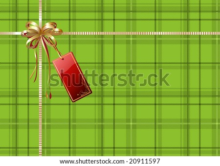 Vector illustration of green Scottish plaid gift wrapping with golden ribbon, bow and red empty tag - stock vector