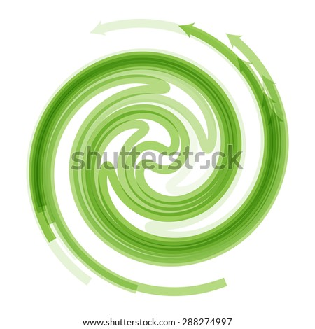 Vector illustration of green spiral arrow isolated on white - stock vector