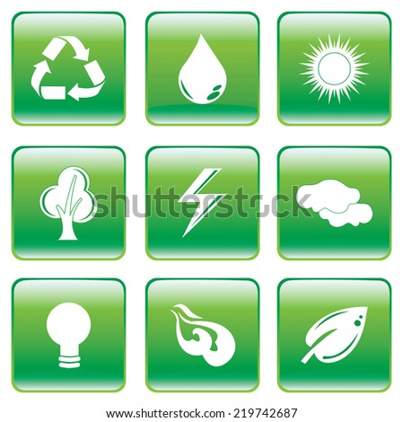 Vector illustration of green square interface buttons with white environmental symbols. - stock vector