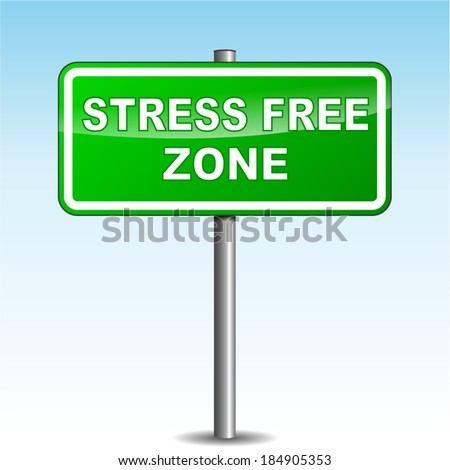 Vector illustration of green stress free signpost on sky background - stock vector