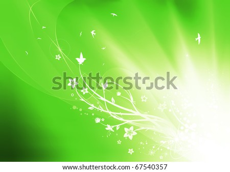 Vector illustration of green summer abstract nature background - stock vector