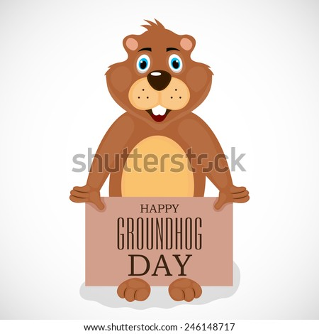 Vector illustration of Groundhog Day background. - stock vector