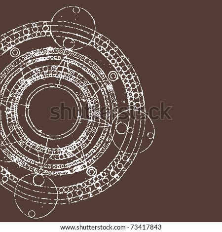 vector illustration of grunge round maya calendar - stock vector