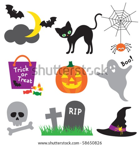 Vector illustration of halloween element set. - stock vector