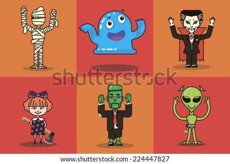 vector illustration of Halloween monster - stock vector