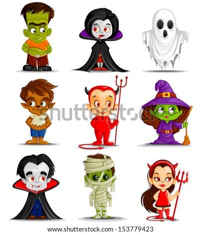 vector illustration of Halloween monster costume - stock vector
