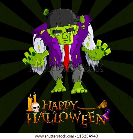 vector illustration of Halloween monster in  night - stock vector