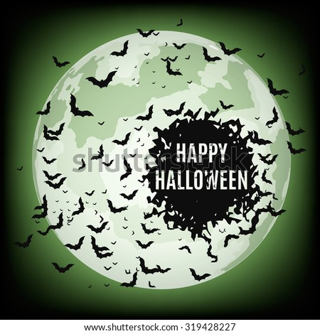 Vector illustration of halloween night with bats flying over moon. - stock vector