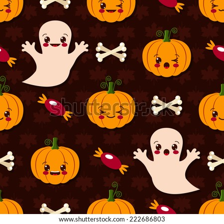 Vector illustration of Halloween seamless pattern with cute kawaii - stock vector