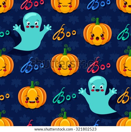 Vector illustration of Halloween seamless pattern with cute pumpkins and spooks - stock vector