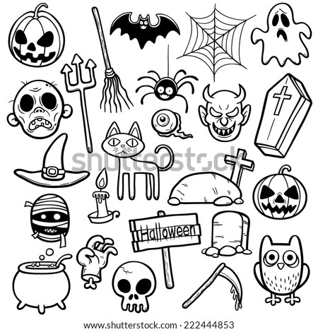Vector Illustration of Halloween set - Coloring book - stock vector