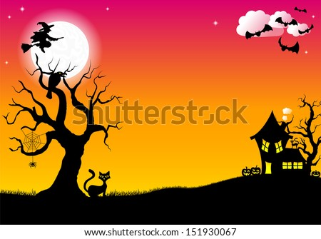 vector illustration of halloween silhouette background - stock vector