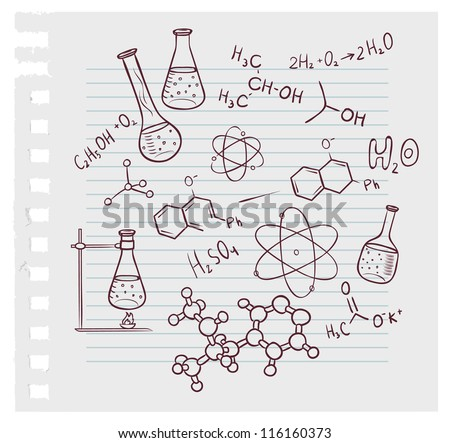 Vector illustration of Hand draw chemistry on background - stock vector