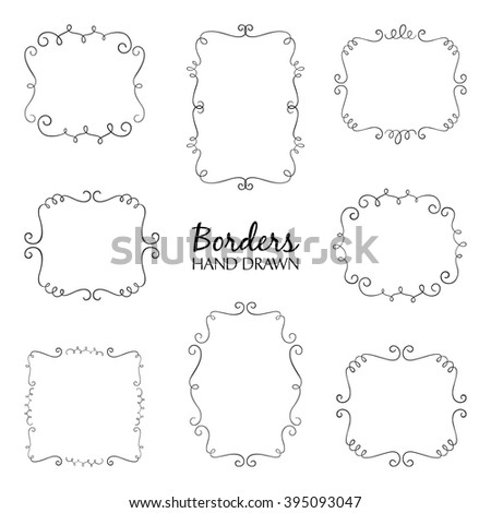 Vector illustration of hand drawn borders set. Collection of flourish borders. Could be used for invitation, wedding or birthday card. - stock vector