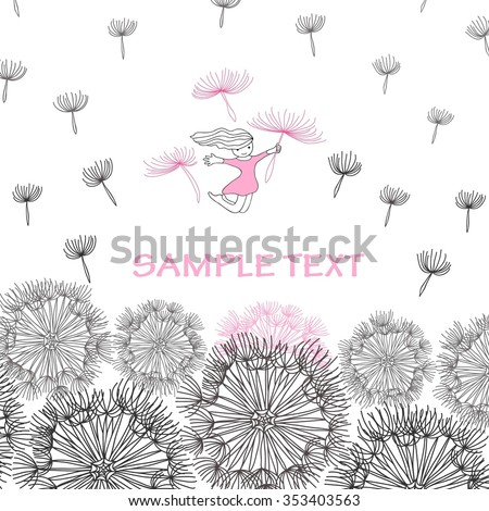 vector illustration of hand-drawn dandelions with flying up of the pistil on a white background with plase for text For one of the pistils holding a little girl in a pink dress - stock vector