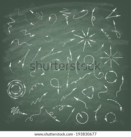 Vector illustration of hand drawn doodle arrows. Set of icons on the chalkboard background. - stock vector
