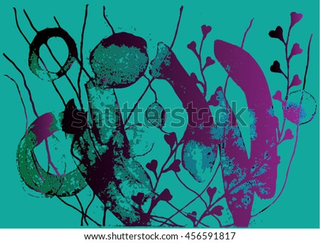 Vector illustration of hand drawn ink distressed grunge floral pattern. Abstract painted backdrop, background. Black, turquoise, purple. - stock vector