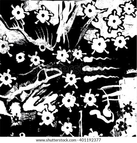Vector illustration of hand drawn ink distressed grunge floral pattern. Black & grey flower pattern, backdrop, background. - stock vector