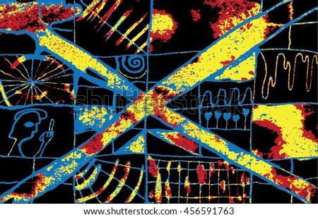 Vector illustration of hand drawn ink distressed grunge pattern. Abstract painted backdrop, background. Cross, alien, spiral, space, universe, spaceship display. Black, blue, yellow, red, heat. - stock vector
