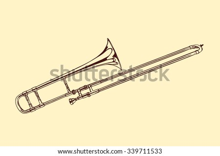 Vector illustration of hand drawn trombone. Beautiful ink drawing of a wind musical instrument. - stock vector