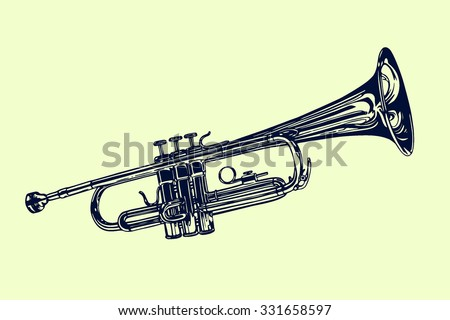 Vector illustration of hand drawn trumpet. Beautiful ink drawing of a wind musical instrument. - stock vector