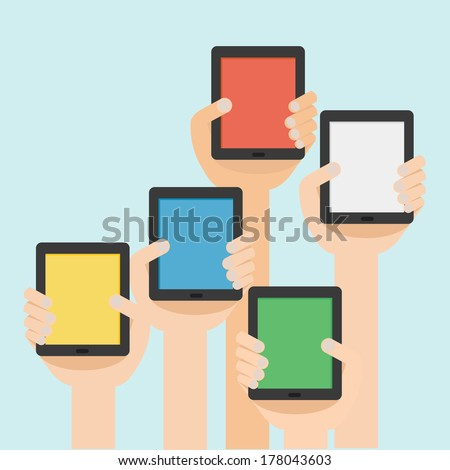 Vector illustration of hand with tablet flat design  - stock vector