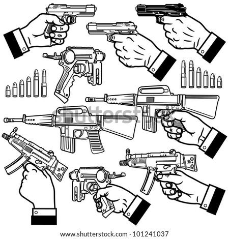 Vector illustration of handgun (pistol) and bullets. - stock vector