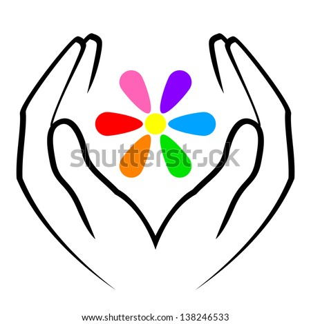 Vector illustration of hands and flower - stock vector