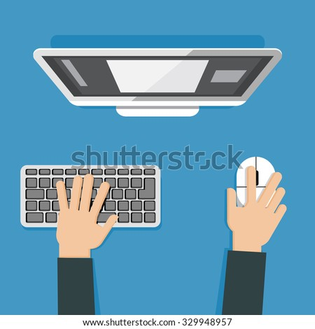 Vector illustration of hands using pc keyboard and computer mouse - stock vector