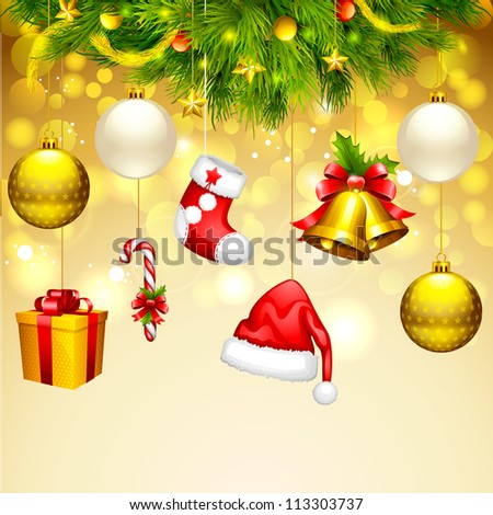 vector illustration of hanging bauble and gift box for Christmas - stock vector