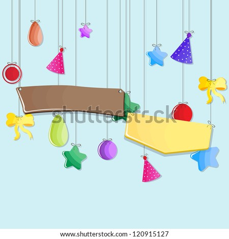 vector illustration of hanging cap and balloon in Birthday background - stock vector