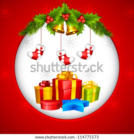 vector illustration of hanging stocking and gift box for Christmas - stock vector