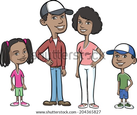 Vector illustration of happy african-american family - stock vector