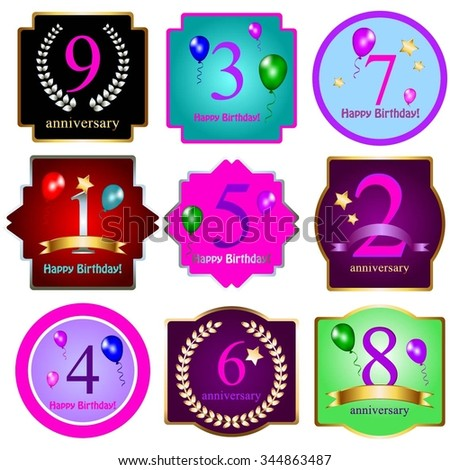 Vector illustration of Happy Birthday! 1, 2, 3, 4, 5, 6, 7, 8, 9 - years. Anniversary. - stock vector