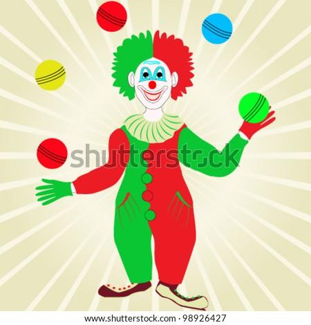 Vector illustration of happy buffon with balls - stock vector