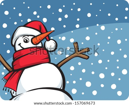 Vector illustration of happy Christmas snow man. Easy-edit layered vector EPS10 file scalable to any size without quality loss. High resolution raster JPG file is included. - stock vector