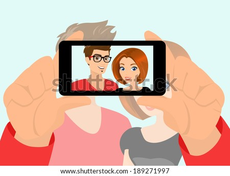 Vector illustration of happy couple taking snapshot of themselves. - stock vector