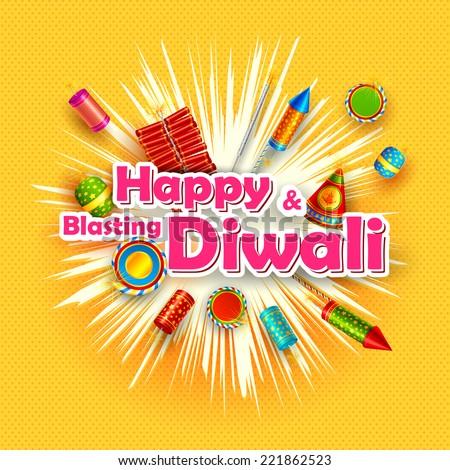 vector illustration of Happy Diwali card with firecracker - stock vector