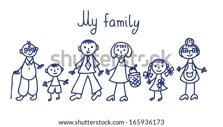 vector illustration of happy family (children's drawings) - stock vector