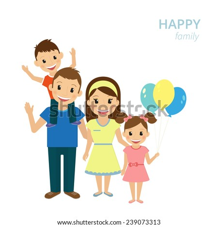 Vector illustration of happy family. Smiling dad, mom and two kids isolated on white - stock vector