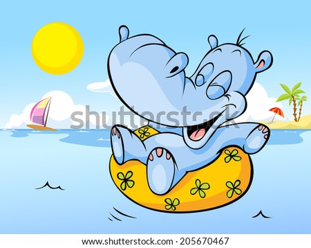 vector illustration of happy hippo swim in sea - holiday greeting - stock vector