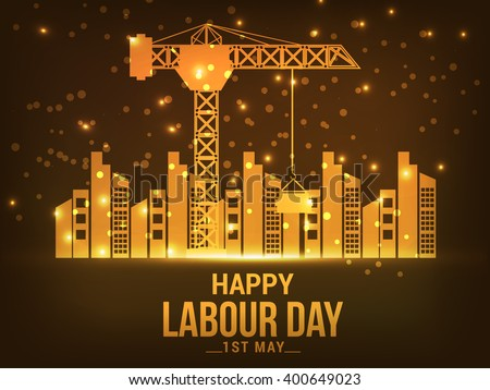 Vector illustration of Happy Labour Day concept with a shiny golden background. - stock vector