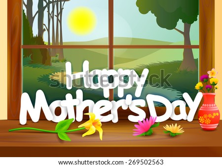 vector illustration of Happy Mother's Day celebration background - stock vector