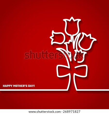 Vector Illustration of Happy Mothers Day Card for Design, Website, Background, Banner. 22th Mays Holiday Gift Element Template with Red Tulip - stock vector